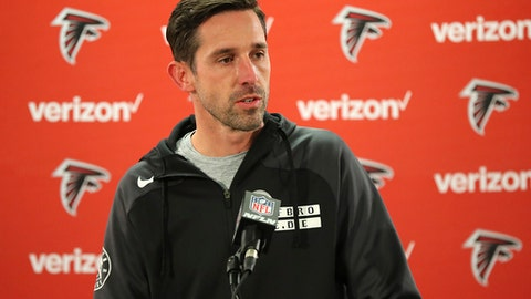 Atlanta Falcons offensive coordinator Kyle Shanahan speaks during a news conference while preparing for the NFC divisional playoff football game against the Seattle Seahawks, Wednesday, Jan. 11, 2017, in Flowery Branch, Ga. (Curtis Compton/Atlanta Journal-Constitution via AP)