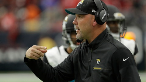 In this photo taken Dec. 18, 2016, then-Jacksonville Jaguars head coach Gus Bradley is shown during the first half of an NFL football game in Houston. Bradley has interviewed for the Washington Redskins' defensive coordinator job. The team said on Twitter that former Jacksonville Jaguars head coach Bradley interviewed on Wednesday, Jan. 11, 2017, two days after Mike Pettine's candidacy was announced. (AP Photo/David J. Phillip)