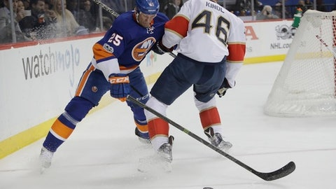New York Islanders' Jason Chimera (25) and Florida Panthers' Jakub Kindl (46) vie for the puck during the second period of an NHL hockey game Wednesday, Jan. 11, 2017, in New York. (AP Photo/Frank Franklin II)