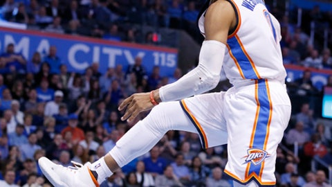 Oklahoma City Thunder guard Russell Westbrook celebrates after a dunk during the fourth quarter of the team's NBA basketball game against the Memphis Grizzlies in Oklahoma City, Wednesday, Jan. 11, 2017. Oklahoma City won 103-95. (AP Photo/Sue Ogrocki)