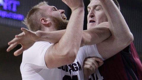 Loyola Marymount center Mattias Markusson (14) fouls Gonzaga center Przemek Karnowski (24) during the first half of an NCAA college basketball game in Spokane, Wash., Thursday, Jan. 12, 2017. (AP Photo/Young Kwak)