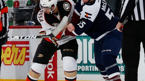 Colorado Avalanche left wing Cody McLeod (55) fights with Anaheim Ducks left wing Joseph Cramarossa (74) during the second period of an NHL hockey game Thursday, Jan. 12, 2017, in Denver. (AP Photo/Jack Dempsey)