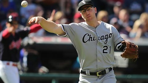 Chicago White Sox' Todd Frazier (21) throws out Cleveland Indians' Chris Gimenez on a sacrifice bunt during the fifth inning of a baseball game Sunday, Sep, 25, 2016, in Cleveland. (AP Photo/Aaron Josefczyk)