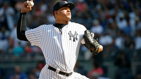 FILE - In this Sept. 5, 2016, file photo, New York Yankees relief pitcher Dellin Betances throws to a Toronto Blue Jays batter in a baseball game in New York. Betances is the only player remaining eligible for salary arbitration. Betances asked for a raise to $5 million and was offered $3 million by the Yankeees. Betances made the minimum $507,500 last year after the Yankees renewed his contract. He is eligible for free agency after the 2019 season. (AP Photo/Kathy Willens, File)