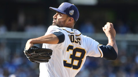 FILE - In this April 4, 2016, file photo, San Diego Padres starting pitcher Tyson Ross throws to a Los Angeles Dodgers batter during a baseball game in San Diego. A person with knowledge of the deal says the Texas Rangers and Ross have agreed on a $6 million, one-year contract. The person spoke to The Association Press on condition of anonymity Friday night, Jan. 13, 2017, because the deal was pending a physical. (AP Photo/Lenny Ignelzi, File)