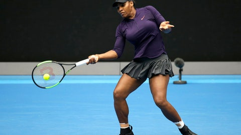 United States' Serena makes a forehand return during a practice session ahead of the Australian Open tennis championships in Melbourne, Australia, Sunday, Jan. 15, 2017. (AP Photo/Aaron Favila)