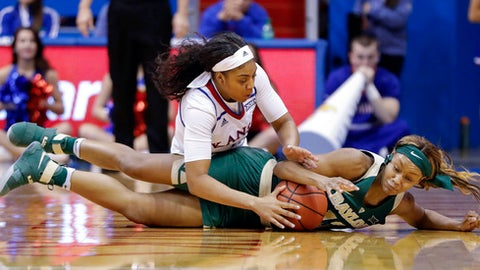 Kansas guard Jessica Washington, top, struggles with a Baylor player for the ball in the second half of an NCAA college basketball game Sunday, Jan. 15, 2017, in Lawrence, Kan. (AP Photo/Mike Yoder)