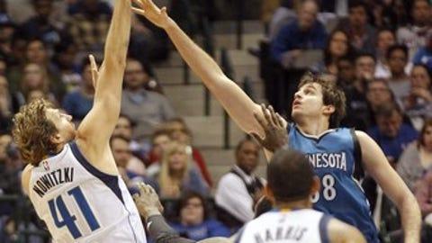 Dallas Mavericks center Dirk Nowitzki (41) shoots over Minnesota Timberwolves forward Nemanja Bjelica during the first half of an NBA basketball game, Sunday, Jan. 15, 2017, in Dallas. (AP Photo/Tim Sharp)
