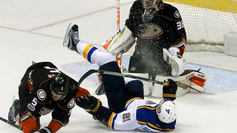 St. Louis Blues center Patrik Berglund (21) tumbles in front of the goal and Anaheim Ducks defenseman Korbinian Holzer (5) and goalie John Gibson (36) in the second period of an NHL hockey game in Anaheim, Calif., Sunday, Jan. 15, 2017. (AP Photo/Reed Saxon)