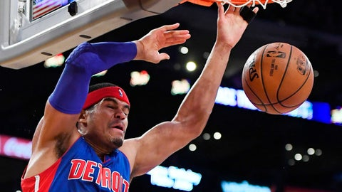 Detroit Pistons forward Tobias Harris dunks during the first half of an NBA basketball game against the Los Angeles Lakers, Sunday, Jan. 15, 2017, in Los Angeles. (AP Photo/Mark J. Terrill)