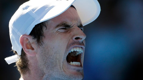 Britain's Andy Murray reacts during play against Ukraine's Illya Marchenko in their first round match at the Australian Open tennis championships in Melbourne, Australia, Monday, Jan. 16, 2017. (AP Photo/Aaron Favila)