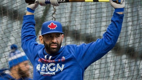 Toronto Blue Jays right fielder Jose Bautista stretches during batting practice Thursday, Oct. 13, 2016, in Cleveland. The Blue Jays are scheduled to face the Cleveland Indians in Game 1 of baseball's American League Championship Series on Friday. (Nathan Denette/The Canadian Press via AP)