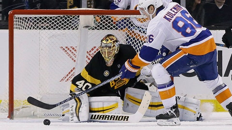 New York Islanders left wing Nikolay Kulemin (86) scores against Boston Bruins goalie Tuukka Rask (40) in the second period of an NHL hockey game, Monday, Jan. 16, 2017, in Boston. (AP Photo/Elise Amendola)