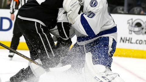 Los Angeles Kings center Jordan Nolan, left, collides with Tampa Bay Lightning goalie Ben Bishop, right, during the second period of an NHL hockey game in Los Angeles, Monday, Jan. 16, 2017. (AP Photo/Alex Gallardo)