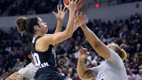 Mississippi State guard Dominique Dillingham (00) shoots over Mississippi forward Taylor Manuel (50) during the first half of an NCAA college basketball game in Starkville, Miss., Monday, Jan. 16, 2017. (AP Photo/Jim Lytle)