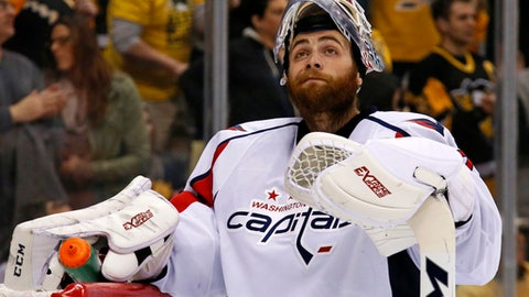 Washington Capitals goalie Braden Holtby takes a time out after allowing a goal to Pittsburgh Penguins' Evgeni Malkin during the second period of an NHL hockey game in Pittsburgh, Monday, Jan. 16, 2017. (AP Photo/Gene J. Puskar)