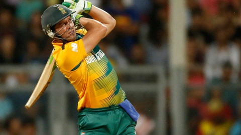 """FILE - In this Friday, March 18, 2016 file photo, South Africa's AB de Villiers bats against England during their ICC World Twenty20 2016 cricket match at the Wankhede stadium in Mumbai, India. AB de Villiers will sit out South Africa's test cricket series in New Zealand but the batsman insists he has no intention of retiring from the longest format of the game. De Villiers clarified the issue on Tuesday, Jan. 17, 2017: """"I've made myself unavailable for the New Zealand test series. I'm definitely not retiring from test cricket because I have plans to come back at some stage. (AP Photo/Rajanish Kakade, file)"""