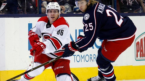 Carolina Hurricanes forward Teuvo Teravainen, left, of Finland, passes the puck against Columbus Blue Jackets forward William Karlsson, of Sweden, during the second period of an NHL hockey game in Columbus, Ohio, Tuesday, Jan. 17, 2017. (AP Photo/Paul Vernon)