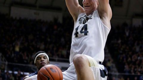Purdue center Isaac Haas (44) dunks against Illinois during the second half of an NCAA college basketball game in West Lafayette, Ind., Tuesday, Jan. 17, 2017. (AP Photo/Michael Conroy)