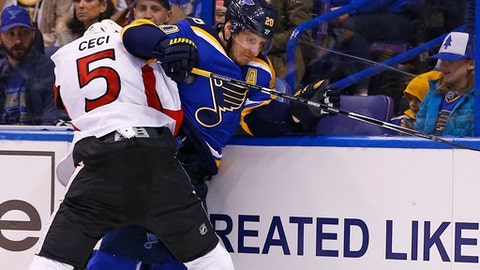 St. Louis Blues' Alexander Steen, right, is checked into the boards by Ottawa Senators' Cody Ceci during the second period of an NHL hockey game, Tuesday, Jan. 17, 2017, in St. Louis. (AP Photo/Billy Hurst)