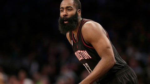 Houston Rockets' James Harden during the second half of the NBA basketball game against the Brooklyn Nets at the Barclays Center, Sunday, Jan. 15, 2017 in New York. The Rockets defeated the Nets 137-112. (AP Photo/Seth Wenig)