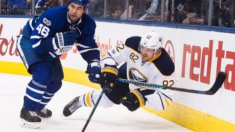 Toronto Maple Leafs defenseman Roman Polak (46) takes out Buffalo Sabres left wing Marcus Foligno (82)  during the third period of an NHL hockey game Tuesday, Jan. 17, 2017, in Toronto. (Nathan Denette/The Canadian Press via AP)