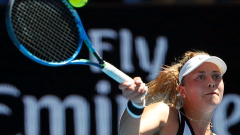 Germany's Carina Witthoeft makes a forehand return to compatriot Angelique Kerber during their second round match at the Australian Open tennis championships in Melbourne, Australia, Wednesday, Jan. 18, 2017. (AP Photo/Dita Alangkara)