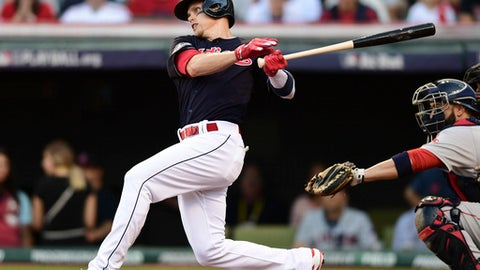 FILE - In this Oct. 7, 2016, file photo, Cleveland Indians' Brandon Guyer hits a one-run single against the Boston Red Sox in the second inning during Game 2 of baseball's American League Division Series, in Cleveland. Outfielder Brandon Guyer has signed a two-year contract with the Cleveland Indians. The deal includes a club option for 2019. (AP Photo/David Dermer, File)