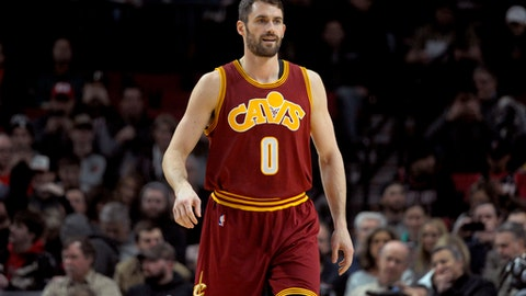 Cleveland Cavaliers forward Kevin Love walks onto the court before an NBA basketball game against the Portland Trail Blazers in Portland, Ore., Wednesday, Jan. 11, 2017. (AP Photo/Steve Dykes)