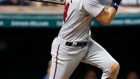 FILE - In this Aug. 29, 2016, file photo, Minnesota Twins' Trevor Plouffe singles off Cleveland Indians relief pitcher Cody Allen during the tenth inning of a baseball game, in Cleveland. Infielder Trevor Plouffe has finalized a $5.25 million, one-year contract with the Oakland Athletics and is expected to be the primary third baseman if he can stay healthy. Plouffe can earn an additional $750,000 in performance bonuses based on plate appearances as part of the agreement announced Wednesday, Jan. 18, 2017 (AP Photo/Ron Schwane, File)
