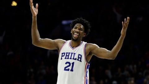 Philadelphia 76ers' Joel Embiid reacts during the final minutes of an NBA basketball game against the Toronto Raptors, Wednesday, Jan. 18, 2017, in Philadelphia. Philadelphia won 94-89. (AP Photo/Matt Slocum)