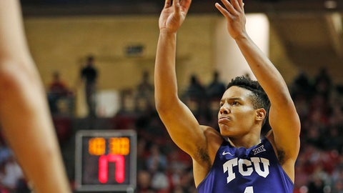 TCU's Desmond Bane (1) shoots the ball during an NCAA college basketball game against Texas Tech, Wednesday, Jan. 18, 2017, in Lubbock, Texas. (Brad Tollefson/Lubbock Avalanche-Journal via AP)
