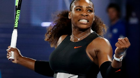 United States' Serena Williams celebrates after defeating Lucie Safarova of the Czech Republic in their second round match at the Australian Open tennis championships in Melbourne, Australia, Thursday, Jan. 19, 2017. (AP Photo/Kin Cheung)