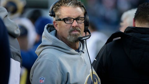 FILE - In this Dec. 4, 2016, file photo, then-Los Angeles Rams defensive coordinator Gregg Williams watches from the sidelines during the second half of an NFL football game against the New England Patriots in Foxborough, Mass. Williams talked tough. His new job is to get the Browns defense to play that way. Cleveland's new defensive coordinator made quite a first impression during a fiery, 48-minute introductory news conference on Thursday, Jan. 19, 2017,  during which the former Buffalo head coach vowed to bring out the best in his players. (AP Photo/Steven Senne, File)