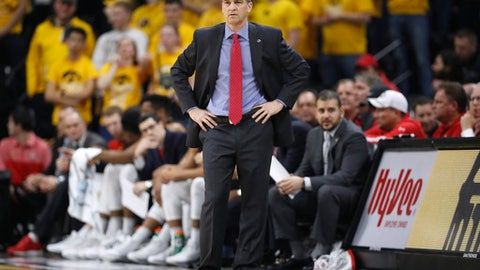 Maryland coach Mark Turgeon watches from near the bench during the first half of the team's NCAA college basketball game against Iowa, Thursday, Jan. 19, 2017, in Iowa City, Iowa. (AP Photo/Charlie Neibergall)