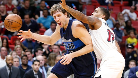 Dallas Mavericks forward Dirk Nowitzki, left, of Germany, loses control of the ball as he goes up for a shot against Miami Heat guard Rodney McGruder (17) during the first half of an NBA basketball game, Thursday, Jan. 19, 2017, in Miami. (AP Photo/Wilfredo Lee)