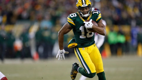 FILE - In this Sunday, Jan. 8, 2017 file photo, Green Bay Packers wide receiver Randall Cobb (18) runs during the second half of an NFC wild-card NFL football game against the New York Giants in Green Bay, Wis. The Green Bay Packers play the Atlanta Falcons in the NFC championship game, Sunday, Jan. 22, 2017. (AP Photo/Matt Ludtke, File)