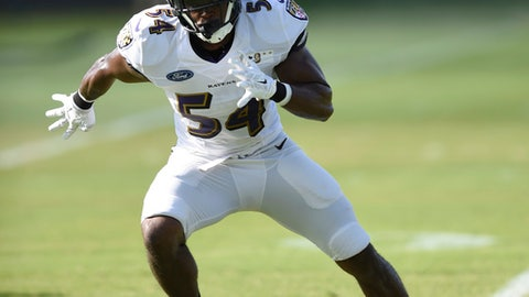 FILE - In this Aug. 4, 2016, file photo, Baltimore Ravens linebacker Zachary Orr awaits a pass during NFL football training camp in Owings Mills, Md. Orr has announced his retirement, Friday, Jan. 20, 2017,  after learning he has a congenital spinal condition.  (AP Photo/Gail Burton, File)