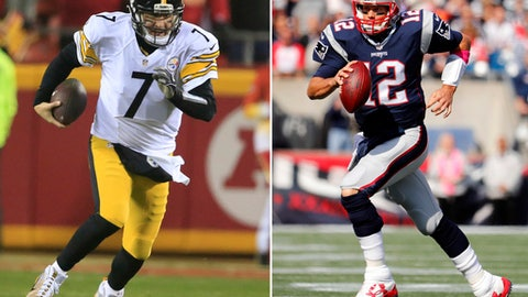 FILE - At left, in a Jan. 15, 2017, file photo, Pittsburgh Steelers quarterback Ben Roethlisberger (7) scrambles against the Kansas City Chiefs during the first half of an NFL divisional playoff football in Kansas City, Mo. At right, in an Oct. 16, 2016, file photo,  New England Patriots quarterback Tom Brady runs during an NFL football game against the Cincinnati Bengals at Gillette Stadium in Foxborough, Mass. The Steelers play the Patriots in the AFC championship game on Sunday in Foxborough, Mass.  (AP Photo/Winslow Townson, File)