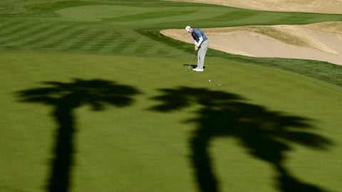 Hudson Swafford putts on the 17th hole during the second round of the CareerBuilder Challenge golf tournament on the Jack Nicklaus Tournament Course at PGA West Friday, Jan. 20, 2017, in La Quinta, Calif. (AP Photo/Chris Carlson)