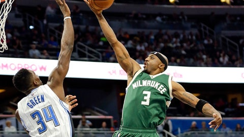 Orlando Magic's Jeff Green (34) blocks a shot by Milwaukee Bucks' Jason Terry (3) during the first half of an NBA basketball game, Friday, Jan. 20, 2017, in Orlando, Fla. (AP Photo/John Raoux)