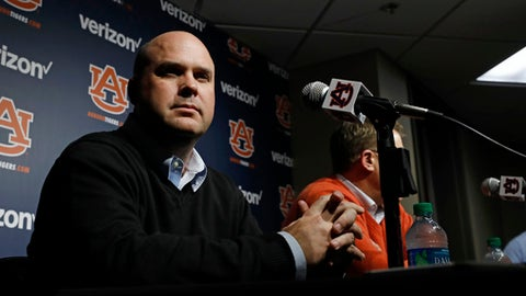 Auburn offensive coordinator Chip Lindsey talks to reporters Saturday, Jan. 21, 2017, in Auburn, Ala. (Todd J. Van Emst/Opelika-Auburn News via AP)