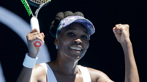 United States' Venus Williams celebrates after defeating Germany's Mona Barthel in their fourth round match at the Australian Open tennis championships in Melbourne, Australia, Sunday, Jan. 22, 2017. (AP Photo/Aaron Favila)