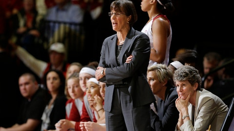 FILE - In this Feb. 12, 2016, file photo, Stanford head coach Tara VanDerveer during an NCAA college basketball game against Arizona in Stanford, Calif. Erica McCall scored 18 points and No. 10 Stanford kept hold of a share of the Pac-12 lead, earning Hall of Fame coach VanDerveer career victory No. 997 in a 66-56 win against 18th-ranked Arizona State on Sunday, Jan. 22, 2017. (AP Photo/Marcio Jose Sanchez, File)