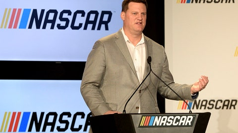 Steve O'Donnell, executive vice president and chief racing development officer of NASCAR, announces NASCAR's approach to modernizing its series with a new format in Charlotte, N.C., Monday, Jan. 23, 2017. (Jeff Siner/The Charlotte Observer via AP)