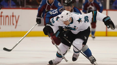 San Jose Sharks center Logan Couture, front, pursues the puck with Colorado Avalanche center Mikhail Grigorenko, of Russia, in the second period of an NHL hockey game, Monday, Jan. 23, 2017, in Denver. (AP Photo/David Zalubowski)