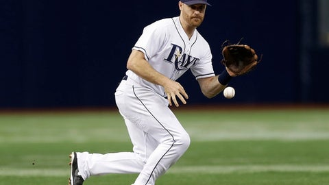 This Sept. 3, 2016 photo shows Tampa Bay Rays second baseman Logan Forsythe (11) fielding a ground ball by Toronto Blue Jays' Josh Donaldson during the first inning of a baseball game in St. Petersburg, Fla. Forsythe has been traded by the Rays to the Los Angeles Dodgers for right-hander Jose De Leon, and Tampa Bay reached a deal with free agent pitcher Shawn Tolleson. (AP Photo/Chris O'Meara)