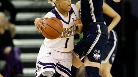 Connecticut's Katie Lou Samuelson, right, guards East Carolina's Alex Frazier (1) during the first half of an NCAA college basketball game in Greenville, N.C., Tuesday, Jan. 24, 2017. (AP Photo/Gerry Broome)
