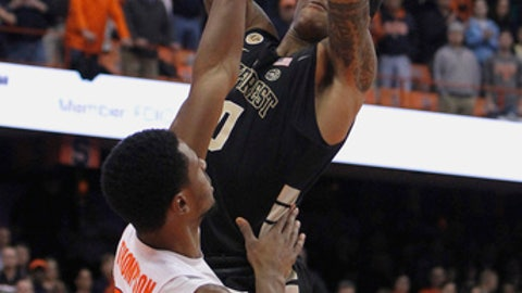 Wake Forest's John Collins, right, shoots over Syracuse's Taurean Thompson in the first half of an NCAA college basketball game in Syracuse, N.Y., Tuesday, Jan. 24, 2017. (AP Photo/Nick Lisi)