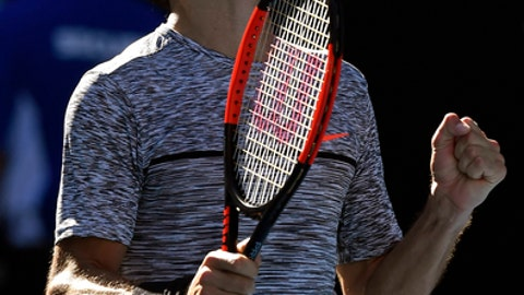 Bulgaria's Grigor Dimitrov celebrates after defeating Belgium's David Goffin during their quarterfinal at the Australian Open tennis championships in Melbourne, Australia, Wednesday, Jan. 25, 2017. (AP Photo/Andy Brownbill)